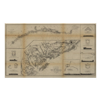 South Carolina Map With Inset of Forts Poster