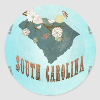 South Carolina Map With Lovely Birds Classic Round Sticker