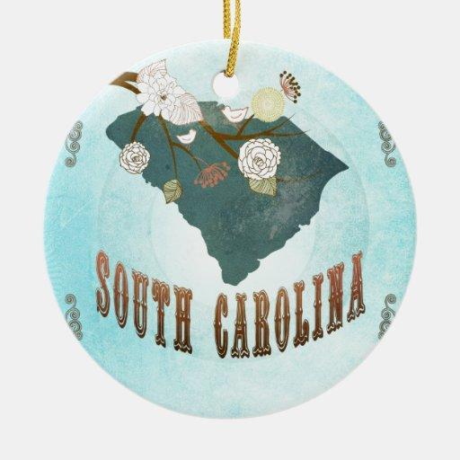 South Carolina Map With Lovely Birds Christmas Ornament