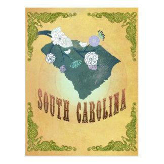 South Carolina Map With Lovely Birds Postcard