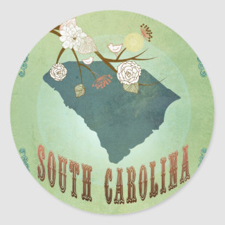 South Carolina Modern Vintage State Map – Green Classic Round Sticker