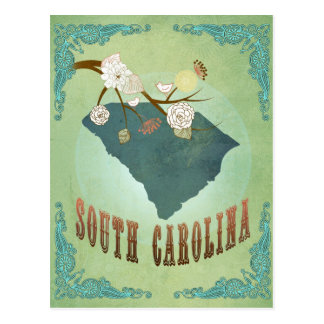 South Carolina Modern Vintage State Map – Green Postcard
