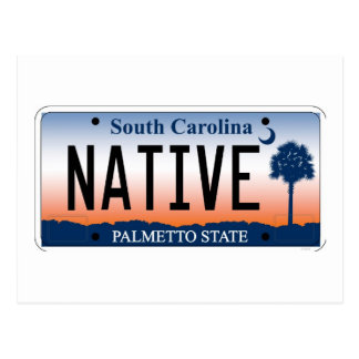 South Carolina Native License Plate Postcard