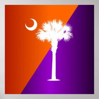 South Carolina Orange & Purple Print