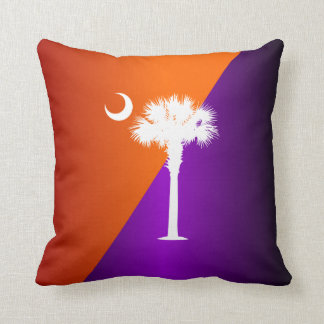 South Carolina Orange & Purple Throw Pillow