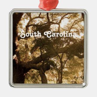 South Carolina Square Metal Christmas Ornament