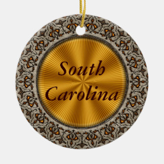 South Carolina Double-Sided Ceramic Round Christmas Ornament