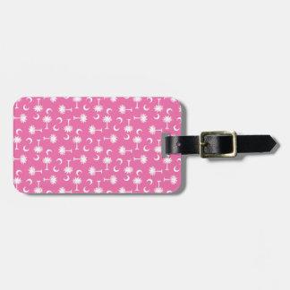 South Carolina Palmetto Moon Flag Pink Luggage Tag