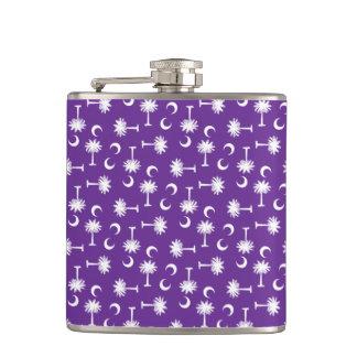South Carolina Palmetto Moon Flag Purple Hip Flask