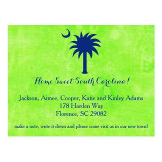 South Carolina Palmetto Tree and Moon New Address Postcard
