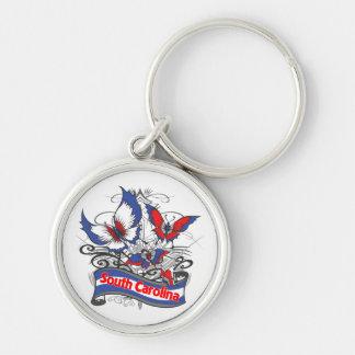 South Carolina Patriotism Butterfly Keychain