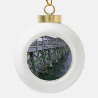 South Carolina Pier Ceramic Ball Christmas Ornament