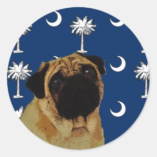 South Carolina Pug Classic Round Sticker