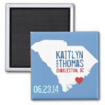 South Carolina Save the Date - Customizable City 2 Inch Square Magnet