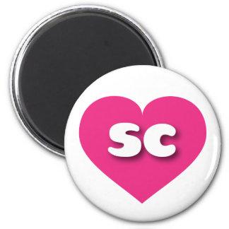 South Carolina sc hot pink heart 2 Inch Round Magnet
