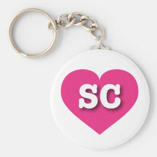 South Carolina SC hot pink heart Keychain