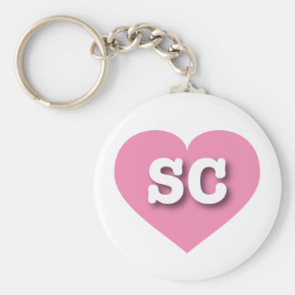 South Carolina SC pink heart Keychain