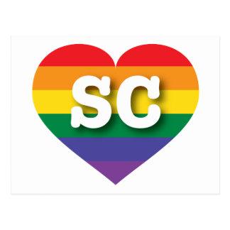 South Carolina SC rainbow pride heart Postcard