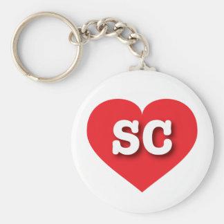 South Carolina SC red heart Basic Round Button Keychain