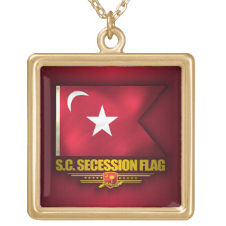 South Carolina Secession Flag Gold Plated Necklace