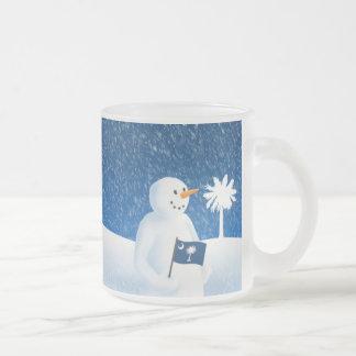 South Carolina Snowman Frosted Glass Coffee Mug
