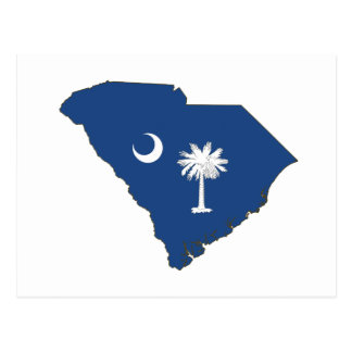 South Carolina State Flag and Map Postcard