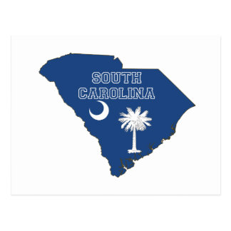 South Carolina State Flag and Map Postcard