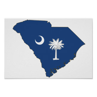 South Carolina State Flag and Map Posters