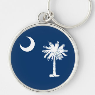 South Carolina State Flag Design Silver-Colored Round Keychain