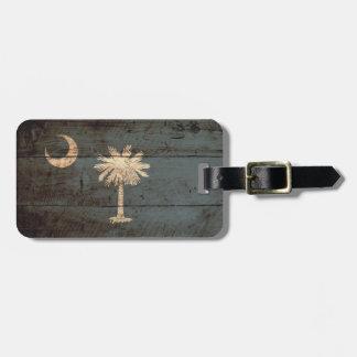 South Carolina State Flag on Old Wood Grain Bag Tag
