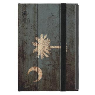 South Carolina State Flag on Old Wood Grain iPad Mini Cover
