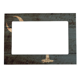 South Carolina State Flag on Old Wood Grain Magnetic Picture Frames