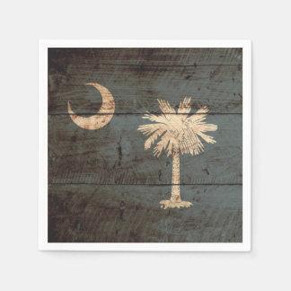 South Carolina State Flag on Old Wood Grain Paper Napkin