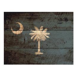 South Carolina State Flag on Old Wood Grain Postcard