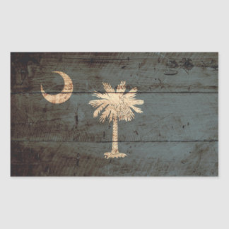 South Carolina State Flag on Old Wood Grain Stickers