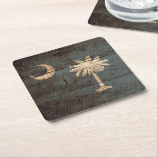 South Carolina State Flag on Old Wood Grain Square Paper Coaster