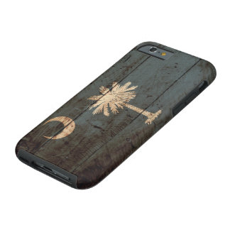 South Carolina State Flag on Old Wood Grain Tough iPhone 6 Case