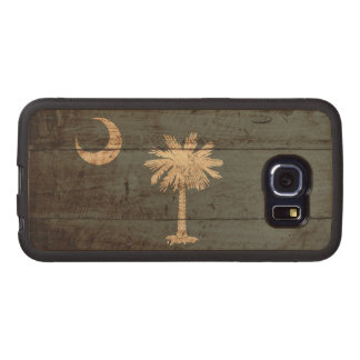South Carolina State Flag on Old Wood Grain Wood Phone Case