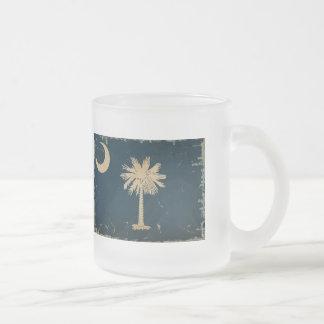 South Carolina State Flag VINTAGE.png 10 Oz Frosted Glass Coffee Mug