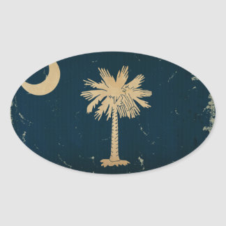 South Carolina State Flag VINTAGE.png Oval Sticker