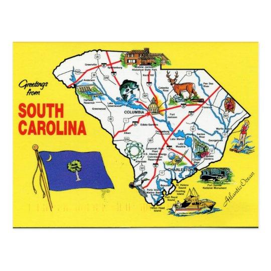 South Carolina State Map Postcard