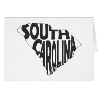 South Carolina State Name Word Art Black Card