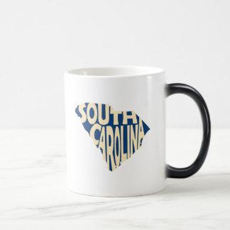 South Carolina State Name Word Art Yellow Magic Mug
