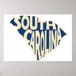 South Carolina State Name Word Art Yellow Poster