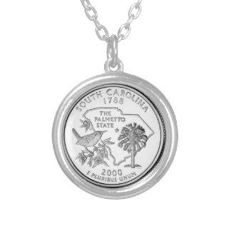South Carolina State Quarter Silver Plated Necklace