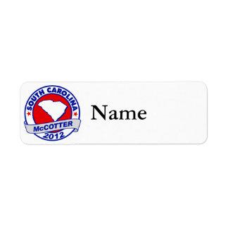 South Carolina Thad McCotter Custom Return Address Labels