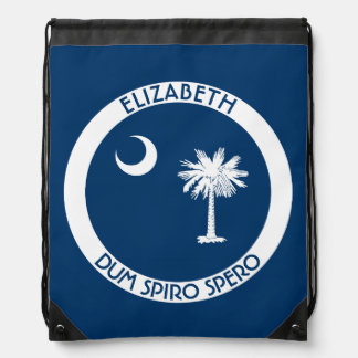 South Carolina The Palmetto State Personal Flag Drawstring Backpack
