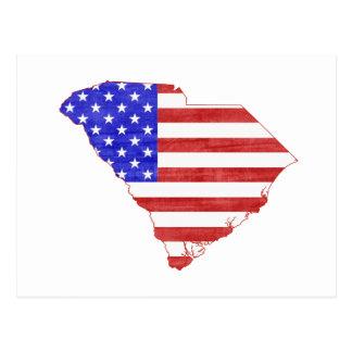 South Carolina USA flag silhouette state map Postcard