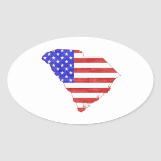 South Carolina USA flag silhouette state map Oval Stickers