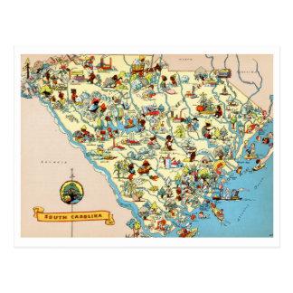 South Carolina Vintage Map Postcard